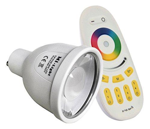 LIGHTEU®, 1 x WiFi LED Lamp RGB und Warm Weißoriginal Milight 230V 5 Watt GU10 Dimmabar mit 4 zonen Fernbedienung