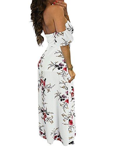 Whoinshop Damen Weg vom Schulter Sommerkleid langes Blumendruck Strandkleid Weiß