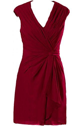 Sunvary elegante Chiffon guaina corte con collo a V, motivo: Mother Of the Bride Gowns abiti Borgogna