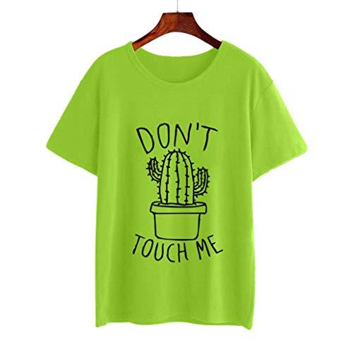 Camiseta de Mujer,riou Estampado de Cactus a la Moda para Mujer Color  sólido Cuello 302ba6b7a20