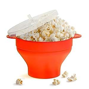 Popcorn Ciotola del Microonde in Silicon Pieghevole con Per Pop Coperchio Cucina con Comode Maniglie la Cucina DIY