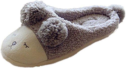 Minetom Donne Autunno E In Inverno Morbido Pantofole Del Fumetto Pecore Interno Antiscivolo Pantofola Grigio
