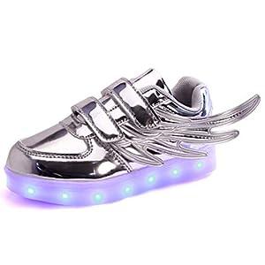 LED – Laufschuhe Schuhe Für Junge/Mädchen, 7 Farben Wechselhaftes Blinken Sport LED Leuchten Chargable Durch USB-Linie. Flamme Und Flügel – Design