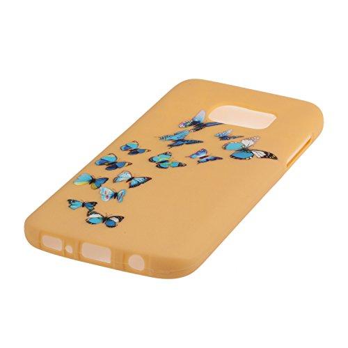 Voguecase® Pour Apple iPhone 6/6S 4,7, TPU avec Absorption de Choc, Etui Silicone Souple, Légère / Ajustement Parfait Coque Shell Housse Cover pour iPhone 6/6S 4,7 (Jaune-Love plume 01)+ Gratuit style Jaune-papillon bleu 08