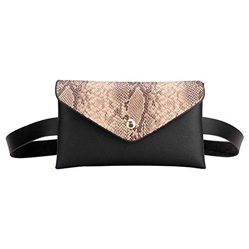 Bolsos de Cintura con Hombro de Serpiente de Ruie Bolsos de cinturón de Fanny Bolsos de Solapa con Solapa para Mujer (Caqui)