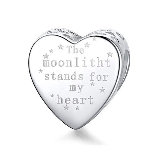 Sterlingsilber, Motiv: The Moonlitht Stands for My Heart, für Pandora-Armbänder, kompatibel mit europäischen Armbändern