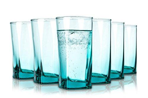 Pasabahce Porto Wassergläser - Spülmaschinenfest - 6 -Teiliges Set - 305 ml - Alle Glaeser Sind aus Einem Stück geblasen - in Türkis