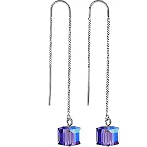Body Candy Handcrafted Bluish Purple Threader Earrings Created with Swarovski Crystals
