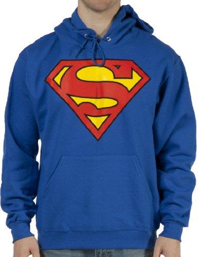 Superman - Felpa con cappuccio - Uomo, blu, xl