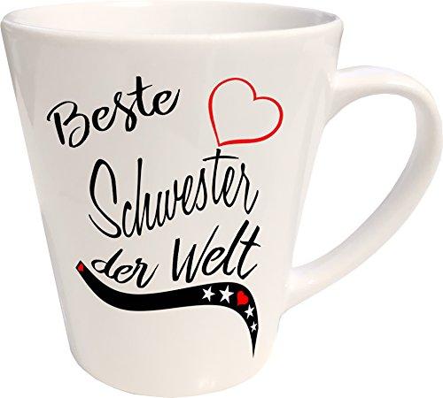 Mister Merchandise Kaffeebecher Latte Tasse Beste Schwester der Welt Tochter Geschenk Danke Familie Weihnachten Milchkaffee Becher konisch Weiß