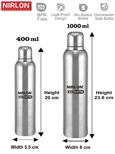 Single Wall Insulated Water Bottle Gift Set 400ml & 1000ml ( 2 Piece Bottle )
