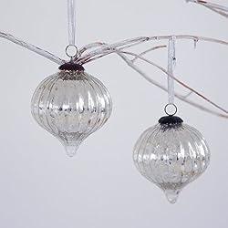 Fair Trade Palline di Natale di vetro (x2) - grande