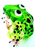 Frosch im Sprung - Grün Schwarz Punkte - Figur aus Glas Glasfigur Glastier Deko Setzkasten Vitrine T-02-grün