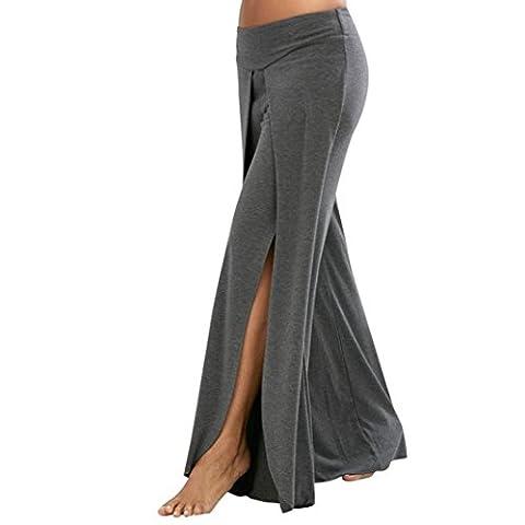 Pantalon Yoga Femme,Manadlian Pantalons de taille large femmes Casual été long pantalons de yoga lâche (Gris, L)