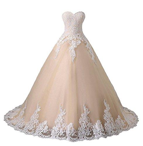 CLLA dress Damen A Linie Prinzessin Quinceanera Kleid mit Weiß Appliques Ballkleider Lang Festkleid Kleider(Champagne,38) (Kleid Cinderella Handgefertigtes)