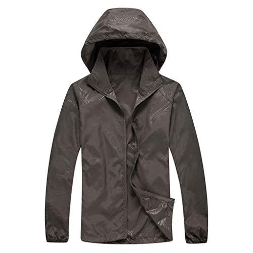 ZHANSANFM Sonnenschutzkleidung Unisex Ultradünne atmungsaktive Kleidung Radtrikot Radjacke Softshell Lightweightjacke Regenjacke upf50 uv-schutzkleidung Haut Windbreaker Outdoor (XS, Dunkelgrau)