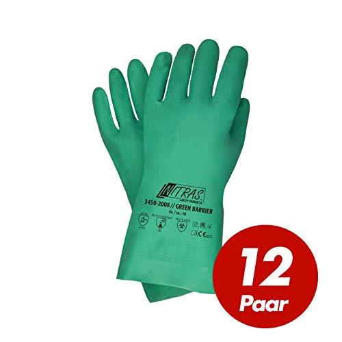 Chemieschutz Handschuhe Nitril grün EN 374-3 Größe 10 - 12 Paar