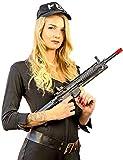 Nick and Ben FBI Agentin Polizistin Set | Kostüm + Gewehr | 4-TLG. für Frauen & Kinder zu Karneval | schwarz | Grösse ca. 36 / 38