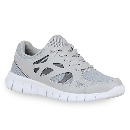 Damen Schuhe Laufschuhe Sneaker Runners Profilsohle Grau Dunkelgrau
