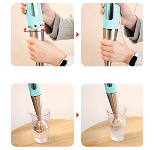 Ctao Hand Immersion Blender Stick Electric Hand Held Blender Baby Food Aider Powerful Food Processor Kitchen Supplies Handheld Blender Household Baby Food Food Bar,Blue