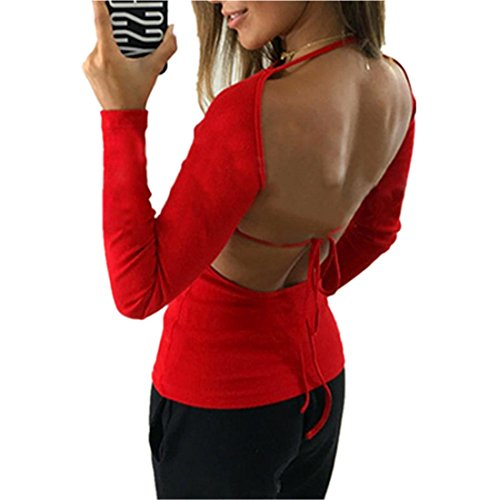 Sweatshirt Damen Kolylong® Frauen Elegant Rückenfreies Oberteil Festliche Blusen Lässige Langarm Shirts Mode Rundhals Pullover Slim Basic Shirt Party Tops Backless T-Shirt Tunika (XL, Rot) Denim-jean-jumper