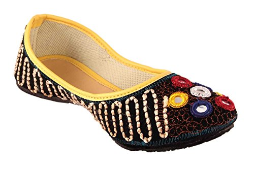 Royal Collection Velvet Multicolored Embroidered Ethnic Rajasthani Jaipuri Mojari,Juti for women and Girls  available at amazon for Rs.299