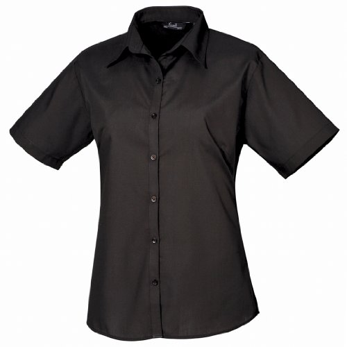 Premier Workwear Ladies Short Sleeve Poplin Blouse, Camicia Donna Acciaio