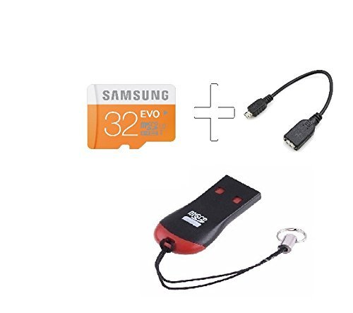 Teflon Tfpro Samsung Evo 32GB Micro SDHC Card C 10 with OTG Cable and M003 Microsd Card Reader -Combo of 3 Pieces