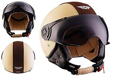 MOTO H44 Vintage Creme · Jet-Helmet Chopper Bobber Scooter-Helmet Biker Retro Cruiser Pilot Vintage Vespa-Helmet Mofa Moto-Helmet · ECE certified · incl. Sun Visor · incl. Cloth Bag · Beige · L (59-60cm)