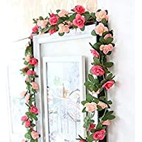 Brown Leaf® Artificial Silk Rose Flowers Vine Garland Fake Ivy Arch Hanging Home Decor Wall Rattan Plants Leaves Decoration