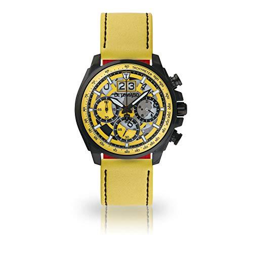 DETOMASO LIVELLO DT2060-A-910 - Reloj de Pulsera para Hombre, cronógrafo, analógico, Cuarzo, Correa de Cuero Amarillo, Esfera Amarilla