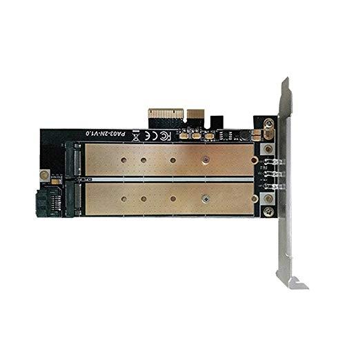 Yowablo Desktop-Dual-Port-NGFF-M.2-SSD mit B + M-Schlüssel für PCI Express PCI-E 4X-Adapterkarte (Gold)