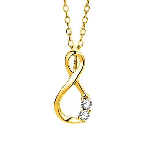 Orovi Kette für Damen Schmuck Gelbgold 9 Karat/ 375 Gold Halskette Unendlichkeit Infinity Anhänger mit Diamant Brillanten 0.05 ct