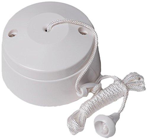 Bulk Hardware BH02684 2-Way Ceiling Switch Bathroom Pull Cord, Round 5 Amp - White