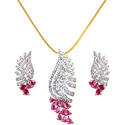 Sitashi Fashion Jewellery Gold Plated AD, American Diamond Pendant Set for Girls and Women