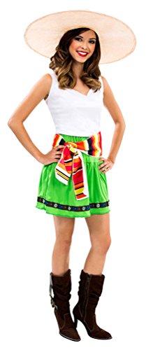 ,Karneval Klamotten' Mexikanerin Kostüm Damen Kleid sexy Mexican Girl mexikanisches Kostüm Frauen: Rock Oberteil inkl. Schärpe Größe (Senorita Sexy Kostüme)