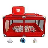 Laufstall Roter Babylaufstall, tragbares Zelt für Innen/Außen, faltbarer Kinderspielplatz 8 (Farbe : With Mat/Balls)