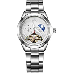 Ik colouring 3305 1 ATM Waterproof Imported Automatic Mechanical Damen Weiblich Uhr mit Stainless Steel Strap & Hollow Dial & Moon and Stars Small Dial & 24 hours Dial & INDICATING Hour and Minute Hands?Silver + White?