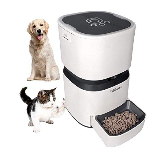 Futterautomat Katze trockenfutter 8L Automatischer Futterspender mit Sprachaufnahme zeitschaltuhr für mittelgroße Katzen Hunde weiß 28,5 x 28,5 x 43 cm