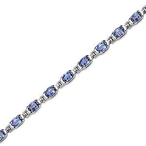 Revoni 7.00 carats Oval Shape Created Alexandrite Gemstone Bracelet in Sterling Silver