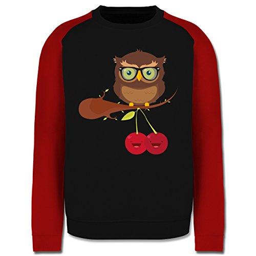 Eulen, Füchse & Co. - Süße Eule Hipster - Herren Baseball Pullover Schwarz/Rot