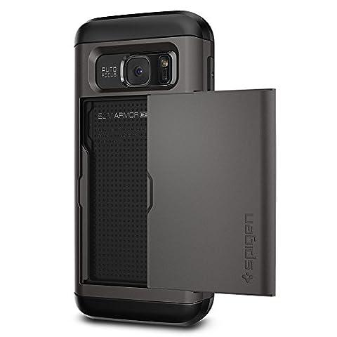 Samsung Galaxy S7 Hülle, Spigen® [Slim Armor CS] KartenFach [Gunmetal] Luftpolster-Technologie an den Kanten / 2-teiliges Case Schutzhülle für Samsung S7 Case, Samsung S7 Cover - Gunmetal (555CS20016) - Gunmetal Scheda