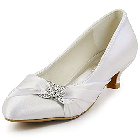 ElegantPark EP2006L Women Low Heels Rhinestones Round Toe Pumps Satin Wedding Evening Party Shoes Ivory UK