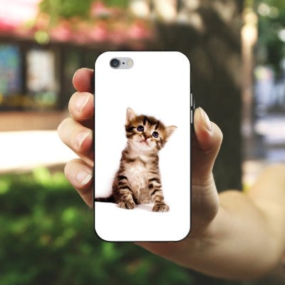 Apple iPhone 5c Hülle Premium Case Cover Katze Katzenbaby Kätzchen Kitten Silikon Case schwarz / weiß