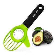 LEMCASE Avocadoschneider - Avocadoschäler, Avocado Slicer Cutter aus Edelstahl Klinge und Silikon Griff | Grün (3-in-1)