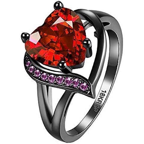 OAKKY Mujer Púrpura and Rojo Corazón Zirconia Cúbica Anillo 18K Negro Oro Chapado
