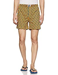 Nuteez Men's Cotton Knit Regular Fit Printed Boxers (Hexagon)