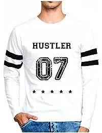 Veirdo Printed Full Sleeve Black/White Round Neck Men's Cotton Tshirt