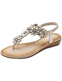 453ffe689f4e7a Women s Low Flat Heel Flip Flop Sandals Clip On Post Thong Boho Shoes with  Flowered Rhinestone