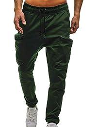 eae51ece9e0 Cayuan Hombres Camuflaje Pantalones Deportivos con Bolsillo con Cierre  Elástica Cintura Estiramiento Jogging Jogger Pantalón de